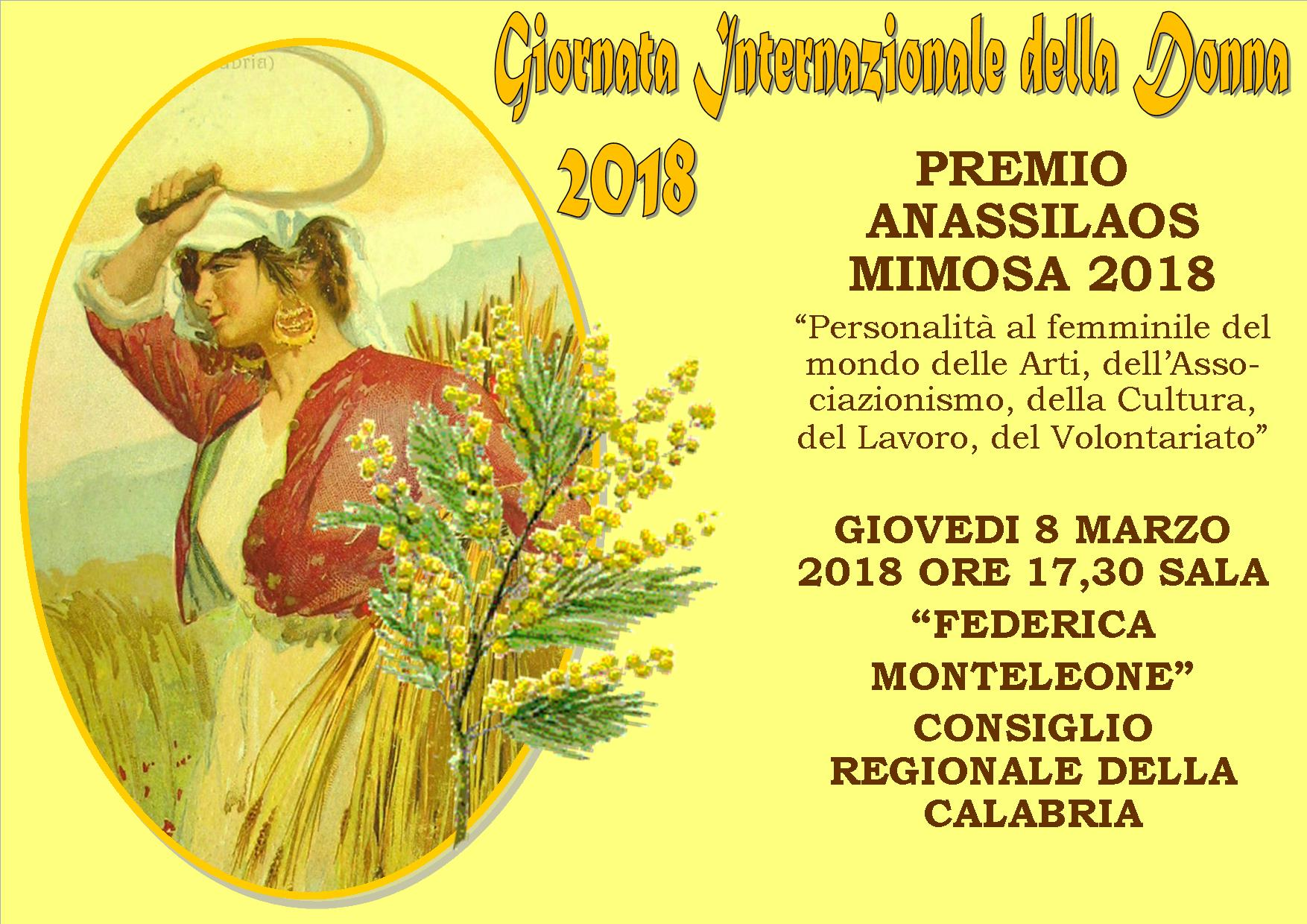 Premio Anassilaos Mimosa 2018 – Premio Anassilaos San Giorgio 2018