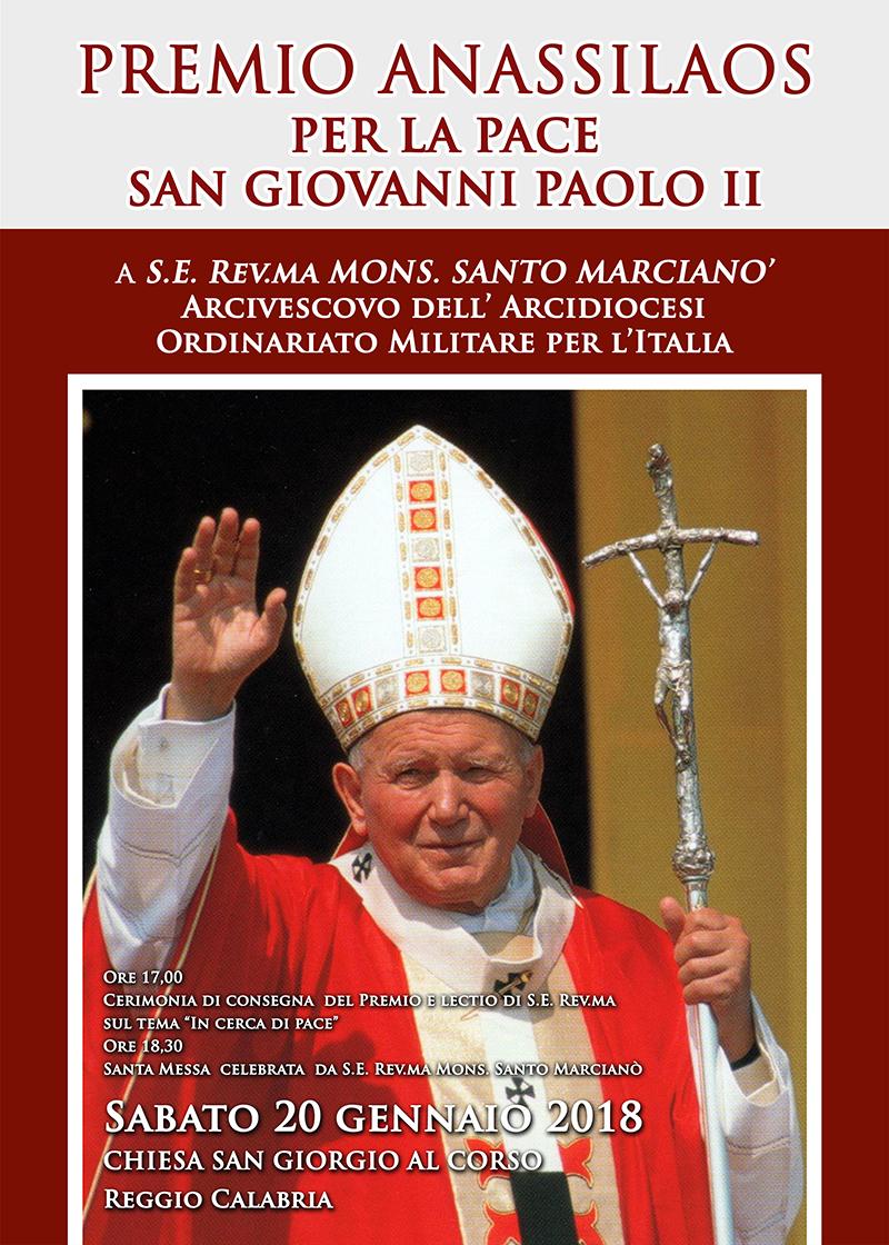 """""""Premio Anassilaos per la Pace San Giovanni Paolo II"""" a S.E. Rev.ma Mons. Santo Marcianò"""