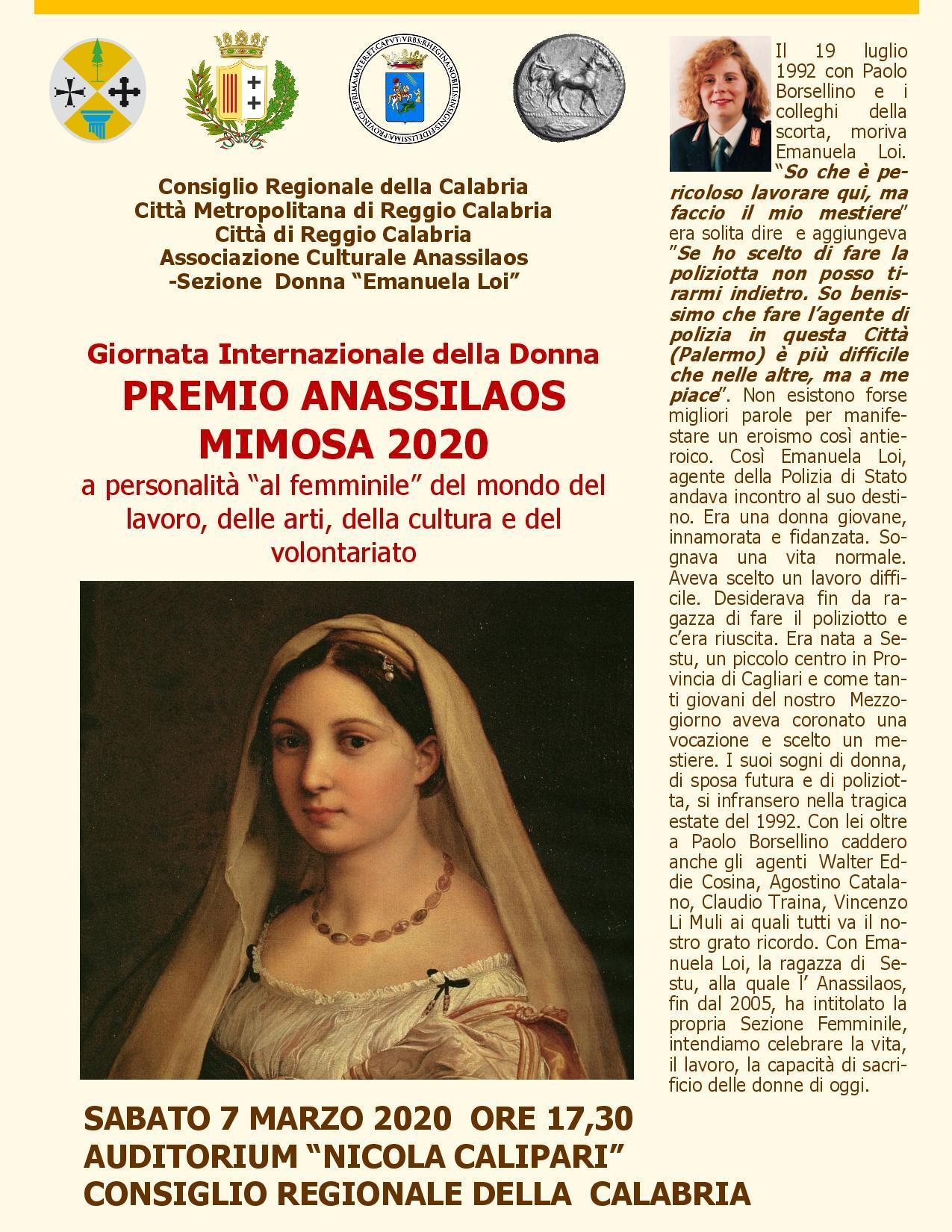 PREMIO ANASSILAOS MIMOSA 2020